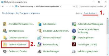 Windows 10: Ordneroptionen über Systemsteuerung öffnen