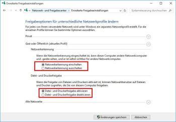 Datei- und Druckerfreigabe im Netzwerk-Adapter aktivieren