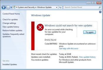0x80070002: Windows Update oder Datei-Fehler