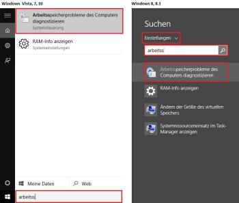 Windows RAM Arbeisspeicher Prüfung