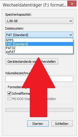 Dateisystem für USB Stick festlegen