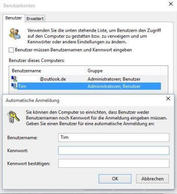 Windows 10: Automatisch einloggen