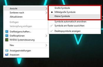 Die Größe der Icons über Tastatur und Maus ändern (Größen können individuell eingestellt werden)