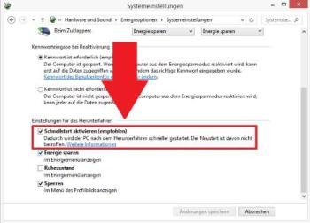 Windows 8: Schnellstart ausschalten