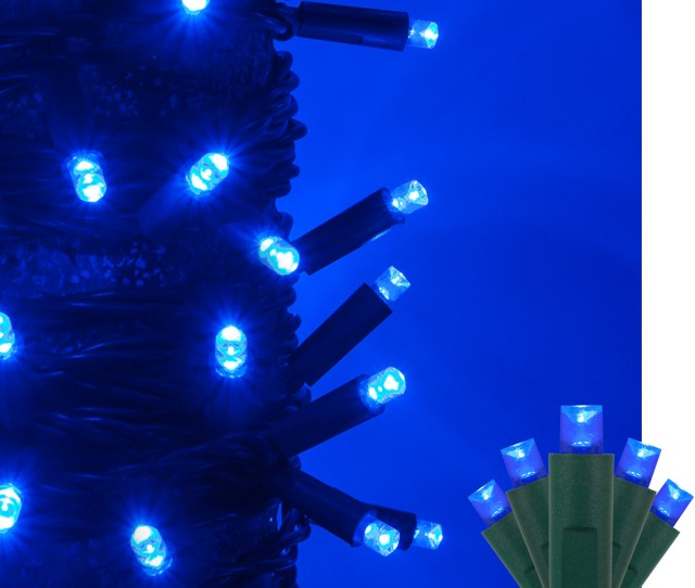 Kringle Traditions 5mm Blue Led Christmas Lights On Green Wire