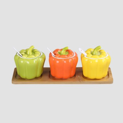 簡約創意南瓜造型陶瓷調味罐-瓶/罐批發-萬菱購
