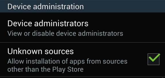 gosim - enable unknown sources android install apps outside play store -