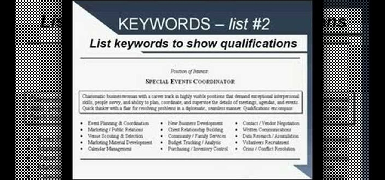 keywords for a resume