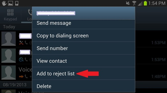 blocking text messages on samsung phone - add to reject list