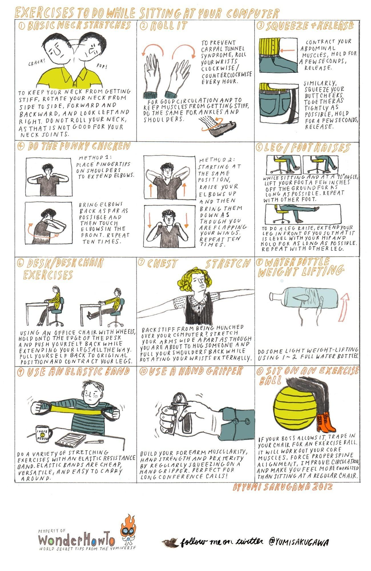 11 Exercises To Do While Sitting At Your Computer The Secret Yumiverse