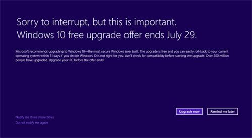 Windows 10 стала агрессивнее