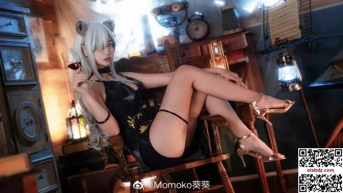 明日方舟黑cos 黑色高贵礼服 Momoko葵葵 (10P)插图(8)