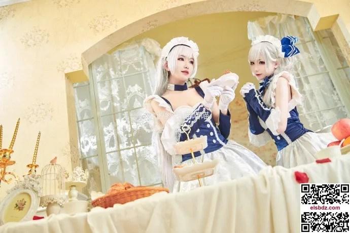碧蓝航线贝尔法斯特cos 绝美双人女仆 cn源纱希&犹大Yuta (14P)插图