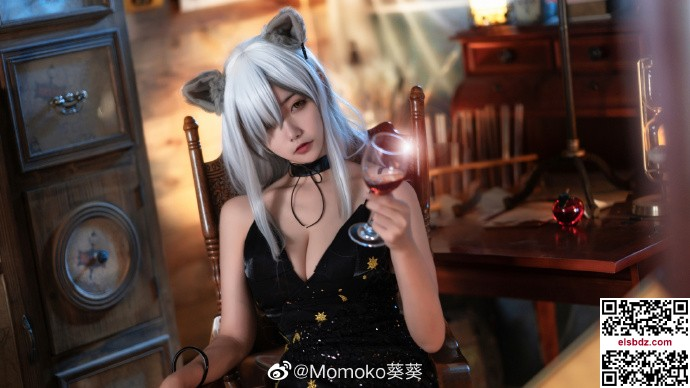 明日方舟黑cos 黑色高贵礼服 Momoko葵葵 (10P)插图(6)