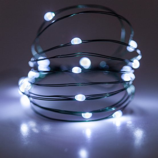 7 Led Fairy Lights Cool White Green Wire Yard Envy