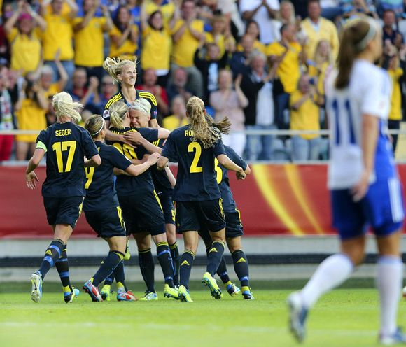 The Swedes celebrate following Nilla Fischer's goal. Image: EPA / Björn Larsson Rosvall