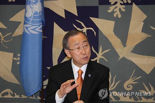 U.N. Secretary-General Ban Ki-moon speaks to Yonhap News Agency in an interview at his office on March 13. (Yonhap)