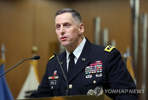 In this photo, taken on Nov. 8, 2016, Thomas S. Vandal, commanding general of the Eighth Army, delivers a speech on security issues at a Seoul university. (Yonhap)