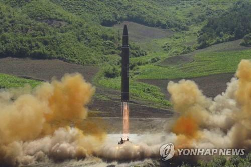 북한의 미사일 발사 장면
