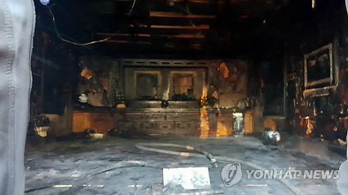 Memorial hall for president's late father burnt down