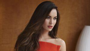 Cute Megan Fox in Red 4K Wallpaper