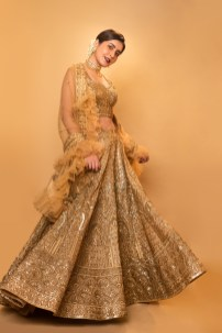 Raashi Khanna In Shimmering Golden Lehengas Hd Gallery5