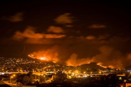 تصاعد الأدخنة من حرائق الغابات فى نيوزيلندا