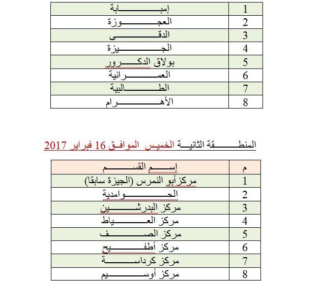 باقى المنطقة الثانية بمحافظة القاهرة