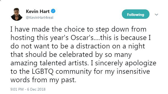 Kevin Hart se disculpa por la ceremonia del Oscar