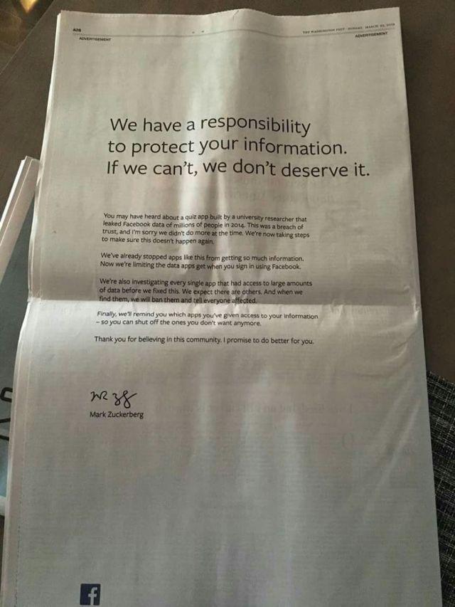 صورة من اعتذار فيس بوك فى الصحف العالمية