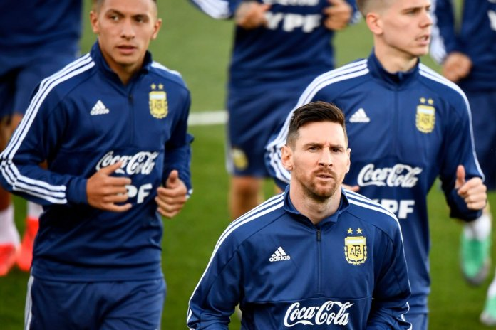 Messi in the training of Argentina