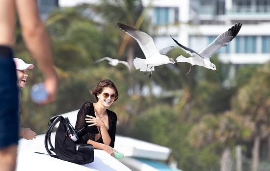 Model Kaya Gerber on vacation in Miami