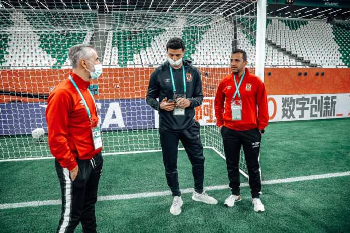 Al-Ahly technical staff inspects the Qatari Al-Duhail match stadium
