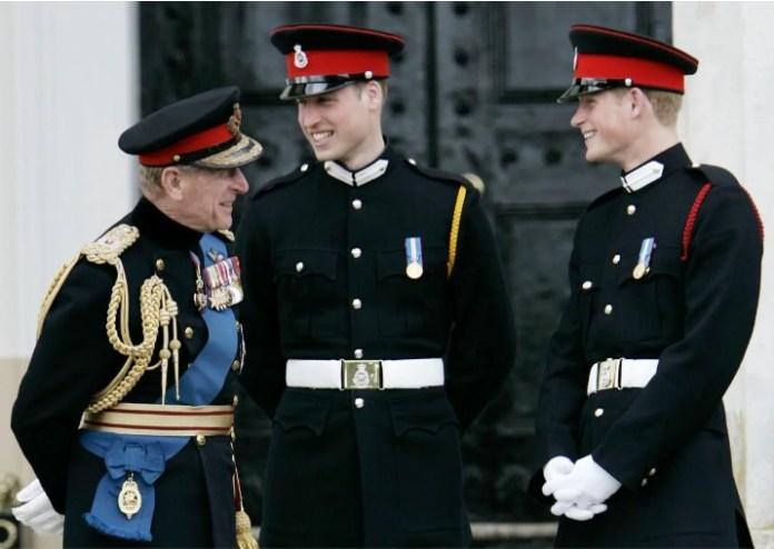 Princes Philip, William and Harry in uniform