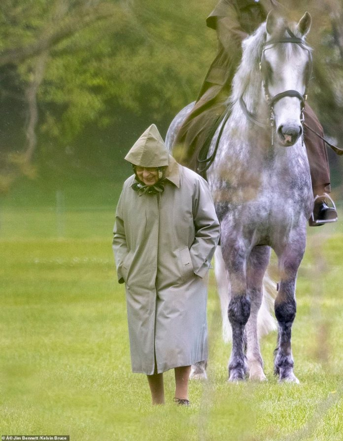 The Queen inspects her husband's horses, Prince Philip