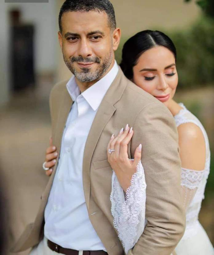 Mohamed Farraj and his bride, Basant Shawky