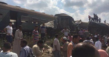 بالصور.. تصادم قطارين فى منطقة خورشيد بالإسكندرية