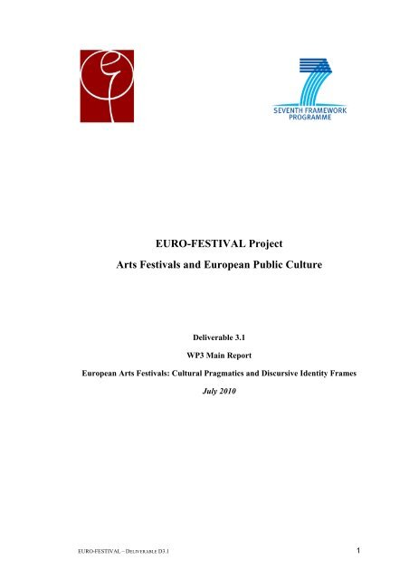 Euro Festival Project Arts Festivals And European Public Culture