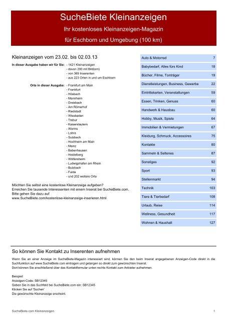 Suchebiete Kleinanzeigenzeitung Eschborn Kostenlose