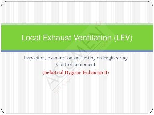 local exhaust ventilation lev acumen