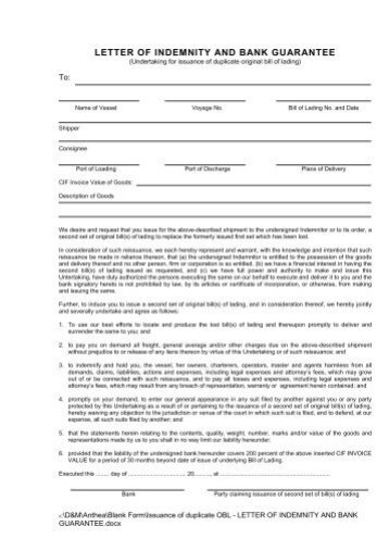 Dhl indemnity letter template newsinvitation letter of indemnity and bank guarantee hapag lloyd altavistaventures Choice Image