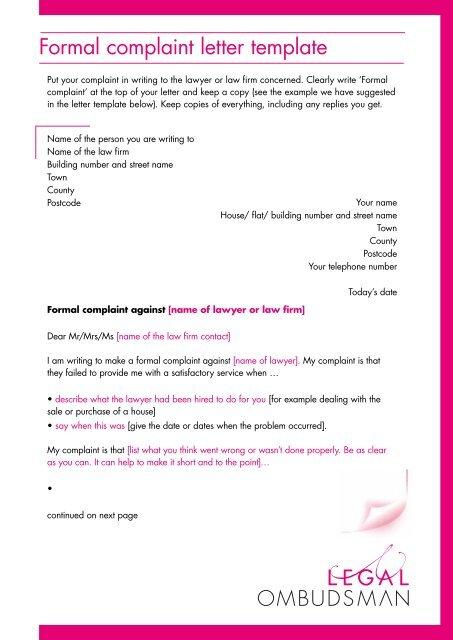 Formal Legal Complaint Letter Sample   mamiihondenk org
