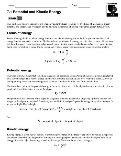 7 1 Potential And Kinetic Energy Cpo Science