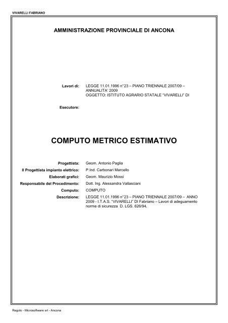 Computo Metrico Provincia Di Ancona