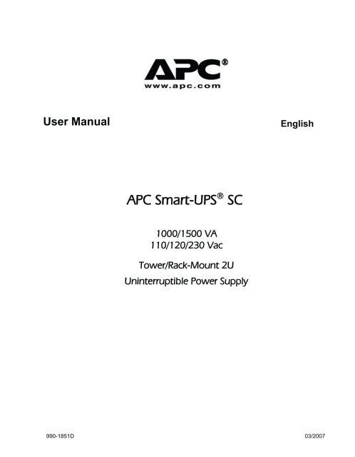 apc smart ups sc 1500 sc1500 user s