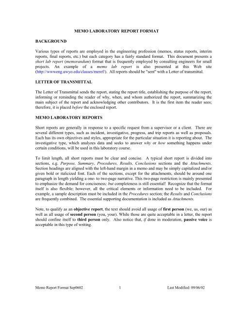 Memo Laboratory Report Format Background Various