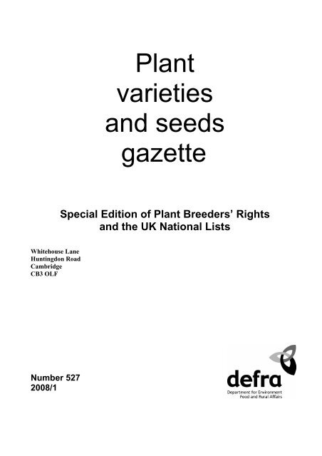 Plant Varieties And Seeds Gazette The Food And Environment