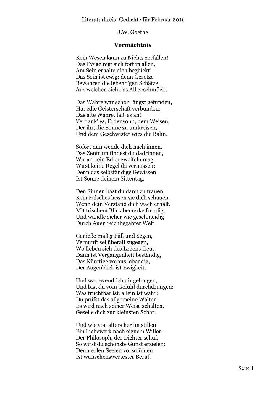 Und Der Gelegenheit Schaff Ein Gedicht Goethes Gedichte An Und