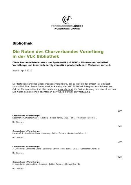 Die Noten Des Chorverbandes Vorarlberg In Der Vlk Bibliothek