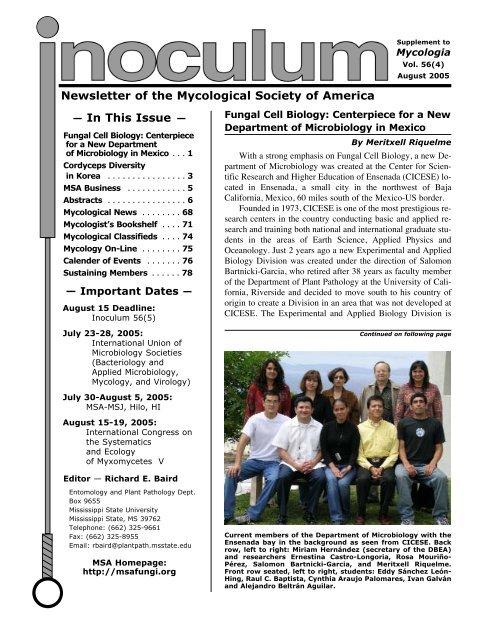 Inoculum 56 4 Mycological Society Of America